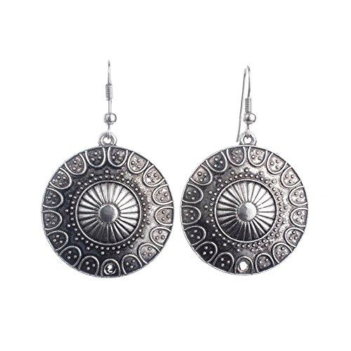 Lureme Ethnisch Stil Schmuck Antique Silber Runden Shaped Pendant Hook Ohrringe for Women and Mädchen (02004293)