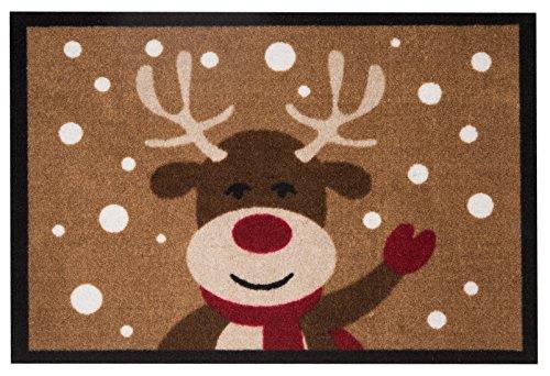 Hanse Home Design Fussmatte Schmutzfangmatte Reindeer Rentier, Polyamid, Braun, 40 x 60 x 0.7 cm