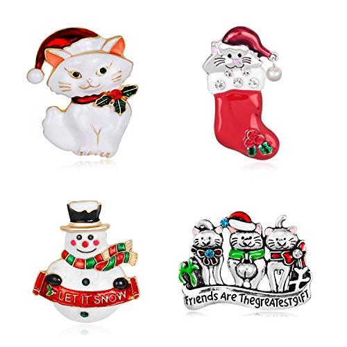 4Pcs Broche para Mujeres Niñas Niño, Navidad Broches Joyas, Exquisito De La Aleación del Rhinestone del Calcetín del Muñeco De Nieve del Gato Accesorios del Traje del Pin De La Aguja