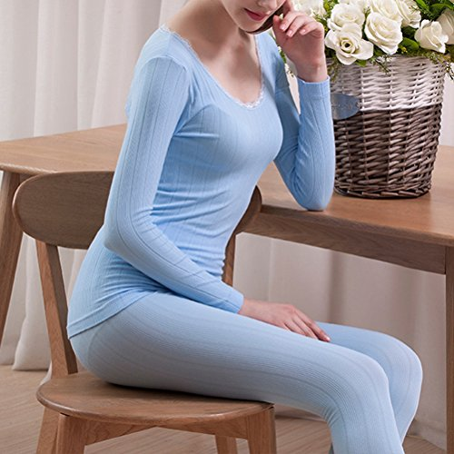 Zhhlaixing Ladies Lace Cotton Body-shaped Round Neck Thermo-Unterwäsche Set Shirt &Pants Hot Light Purple