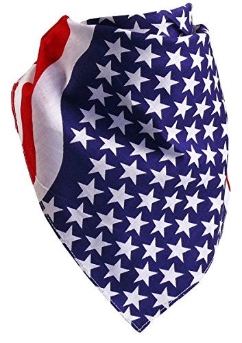 Harrys-Collection Bandana Bindetuch 100% Baumwolle 1 er 6 er oder 12 er Pack!, Farbe:Stars+Stripes (Cowboys-star)