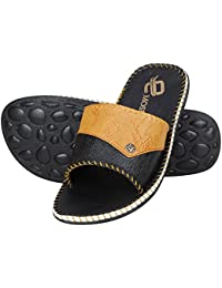 65113abff8 Emosis Men's Stylish 255 Tan Brown Black Colour Casual Ethnic Formal Office  Slide Slipper Cum Sandal
