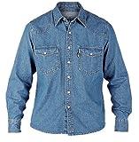 Duke London Herren Jeanshemd / Denim-Hemd Stonewash-Effekt, Western-Stil, Gr. S-XL - - Blue Stonewash - xl