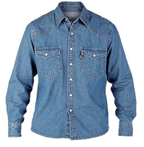 London Herren Jeanshemd / Denim-Hemd Stonewash-Effekt, Western-Stil, Gr. S-XL - - Blue Stonewash - xl