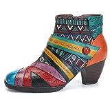 Socofy Damen Ankle Boots, Kurzschaft Stiefel High-Top Classic Lederstiefel Leather Boots Frau Zipper Handmade Chukka Lederschuhe Blau 2 40
