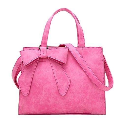 WOMJIA Bow-Tie-Peeling Damen und großzügig stumpfe polnische Einfache Handtaschen Rosa (Bow Handtasche Rosa)