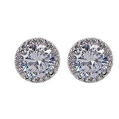 Idea Regalo - Amesii, orecchini a bottone placcato platino con zircone di cristallo incastonato, eleganti, da donna