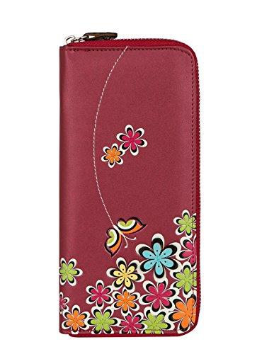 MENKAI Schmetterlinge, geprägt, lange Brieftasche, Reißverschluss rot (Fossil Brieftasche Geprägte)