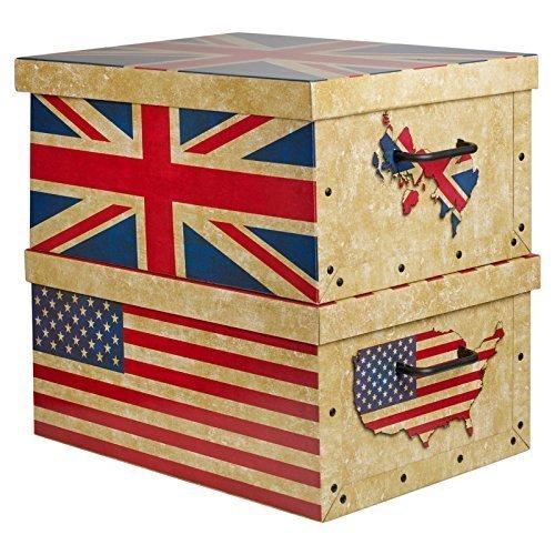2 große Unterbett Karton Aufbewahrungsboxen leicht mit Deckeln und Griffen US & UK Flaggen