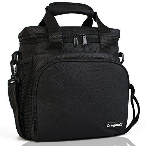Borsa termica per il pranzo s1: insigniax pranzo al sacco per tornare a scuola per adulti donna uomo bambino bambina bambina con tracolla e portabottiglia dimensioni 25,4 x 13 x 23,3 cm (grande, nero)