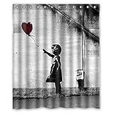 Shower Curtain Company Banksy-Motiv: Mädchen mit Ballon, Weihnachtsgeschenk-Design, wasserdichter Stoff fürs Badezimmer, Duschvorhang mit 12 Haken, 152 cm