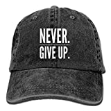 Never Give Up Denim Hat Adjustable Unisex Flag Baseball Cap ABCDE08830