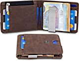 """TRAVANDO  Portafoglio uomo piccolo con protezione RFID """"TORINO"""" Porta carte di credito con clip per..."""