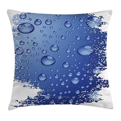 Grunge Throw Pillow Cushion Cover, Wet Surface Inspired Bubble Water Rain Drop Crystals Freshness Symbol Artsy Design, Decorative Square Accent Pillow Case, 18 X 18 Inches, Violet Blue