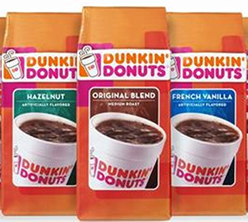 Dunkin Donuts Flavored Coffee Set, French Vanilla, Hazelnut and Regular Ground Coffee, Each Bag 340.2g 51zemXjsHdL