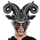 Carnival Toys 785–Hard Plastic Mask Demon grey with Horns In Envelope, Grey
