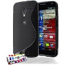 Muzzano F2072603 - Funda para Motorola Moto X primera generación + 3 protecciones de pantalla, color negro