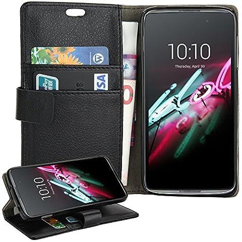 Housse Alcatel Onetouch IDOL 3 (4.7 pouces), EnGive Flip Housse Étui Coque de protection en Luxe cuir pour Alcatel Onetouch IDOL 3 Smartphone 4.7 pouces (noir 1)
