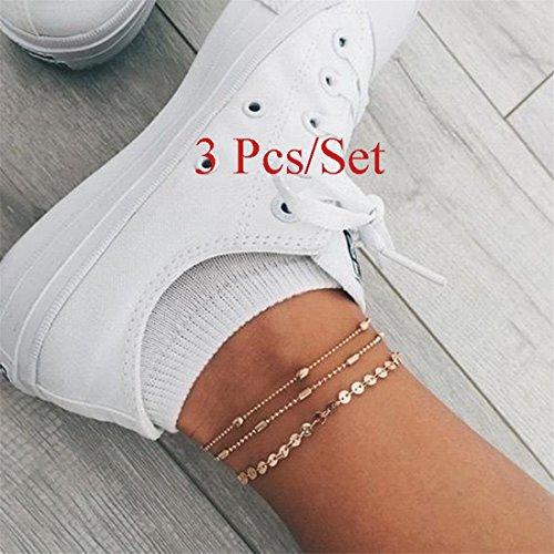 Fuß-vintage (Yesiidor 3Boho Bead Pailletten Fußkettchen Fashion Charming Vintage Punk Beach Sandale barfuß Fußkettchen Armband Fuß Schmuck)
