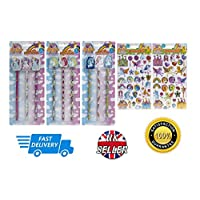 Gigi Queen Unicorn 3Pc Pencils Erasers & 60Pc Vinyl Puffy Stickers