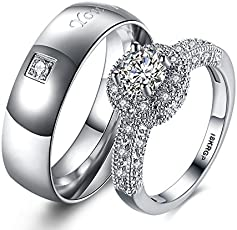 Via Mazzini White Gold Plated Crystal Proposal Couple Rings for Boys and Girls (Ring0358)