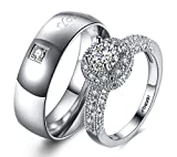 #5: Via Mazzini White Gold Plated Crystal Proposal Couple Rings For Boys And Girls (Ring0358)