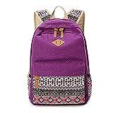 Rucksack Mädchen Dots backpack Freizeitrucksack Schulranzen für Jugendliche Damen & Kinder Elegant Canvas Rucksack Violet OneSize