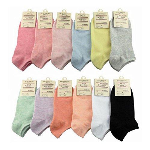 QincLing Damen Süßigkeit Farbe Knöchelsocken Low Cut Socken Baumwollsocken (12 Paare) (Herren Low-cut-socken 100 Baumwolle)