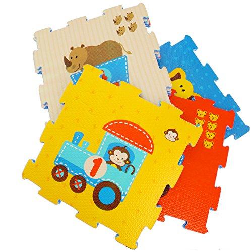 Unbekannt Puzzelmatte Tiermotive mit Zahlen aus Moosgummi 18-Teilig große Teile • Puzzlematte Spielmatte Puzzleteppich Spielteppich Motorik Spielzeug Kinder Spiel