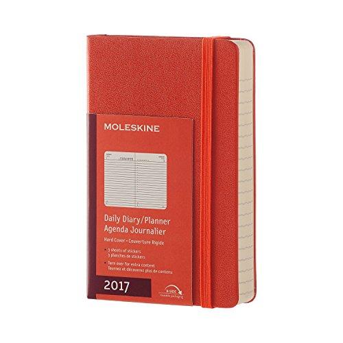 Moleskine DHF1612DC2Y17 - Agenta diaria 12 meses, pocket 9 x 14, color naranja coral