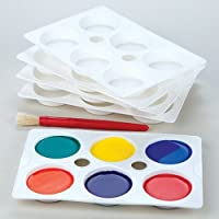 Baker Ross Paletas de plástico de 6 pocillos para pintura (Pack de 5)