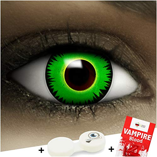 Farbige Kontaktlinsen ohne Stärke Reptil + Kunstblut Kapseln + Kontaktlinsenbehälter, weich ohne Sehstaerke in grün, 1 Paar Linsen (2 Stück)