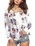 Beluring Damen Bluse Langarm V-Ausschnitt Tunika Top mit Blumen Oberteil Beige Gr.40