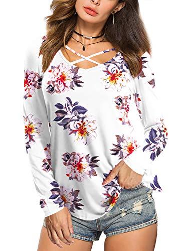 Beluring Damen Blusen Sommer Blumen Oberteile T-Shirt Langarm Beige Gr.36 -