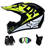 GLR Dual Sport Motocross Helm Off Road Motorrad Dirt Bike ATV DOT Zertifizierter Mountainbike-Helm der V1-Serie mit Brille Winddichte Masken-Rennhandschuhe,B,L59~60CM