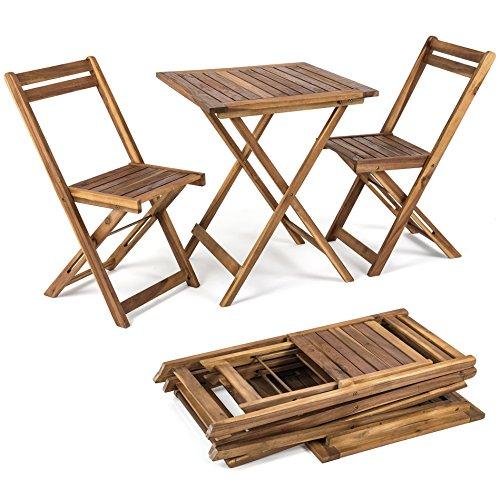 Balkonset 3tlg. Klapptisch + 2 Stühle aus Holz, Gartenset, Bistro, Set, Garnitur