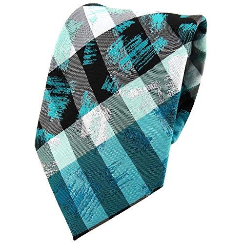 TigerTie - Cravate - À Rayures - Homme turquoise gris argenté noir