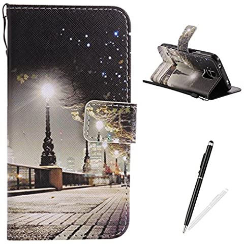 Samsung Galaxy S5 Case,Feeltech Elegant Premium Flip PU Leather Wallet Cover with Magnetic Closure Stand Function Protective [Free 2 in 1 Stylus] Credit Card Slots Holder and Money Pouch Vintage Retro Cartoon Pattern Design Flip Book Style Cover Case With Hand Strap for Samsung Galaxy S5 - London Street