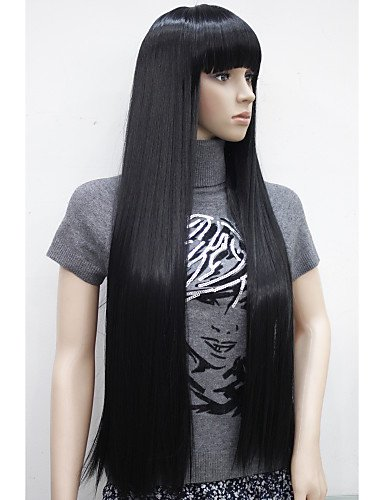 Perruque & xzl Perruques Fashion nouvelle charmante 30 longue ligne droite avec une frange résistants à la chaleur synthétique noire perruque femmes femmes