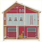 Limmaland Pferdestall Aufkleber für IKEA FLISAT Holz Puppenhaus (Farbe Rot/Salbei) - Möbel Nicht inklusive