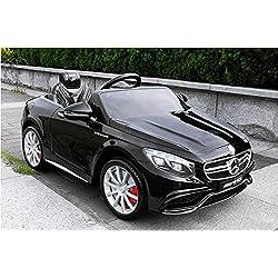 COCHE ELÉCTRICO PARA NIÑOS Mercedes-Benz S63 AMG, ASIENTOS DE CUERO, Negro, producto BAJO LICENCIA, con mando a distancia, ruedas de caucho.