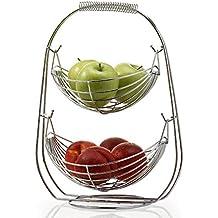 NONMON Frutero de 2 Pisos de Metal Cromado, Cesta de Frutas