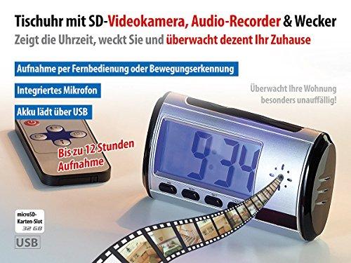 OctaCam Tischuhr mit Kamera: Tischuhr mit SD-Videokamera, Audio-Recorder und Wecker (Wecker mit Kamera)
