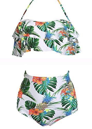 AOQUSSQOA Damen Badeanzug Rüschen Hals Hängen Bikini Sets Zweiteilige Bademode mit Hoher Taille Strandkleidung (EU 46-48 (XL), Pineapple B)