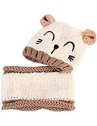 Los productos Sombrero encantador del bebé Algodón Beige Conjunto del calentador del cuello de invierno al aire libre