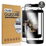 Owbb [2 Stück] Schwarz Gehärtetes Glas Display schutzfolie Für LG K8 2016 Full Coverage Schutz 99% High Transparent Explosionsgeschützter Film