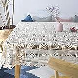 kingpo Tischdecke aus Spitze - rechteckige Tischdecke Elegante Blumenmuster - perfekte Geburtstagsfeiern, Hochzeitsempfänge, Baby-Duschen, Esstische, Weiß, 140 200cm
