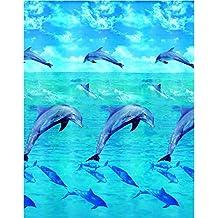Kleine Wolke 5201148305 Dolphin - Cortina de ducha (180 x 200 cm), diseño de delfines, multicolor
