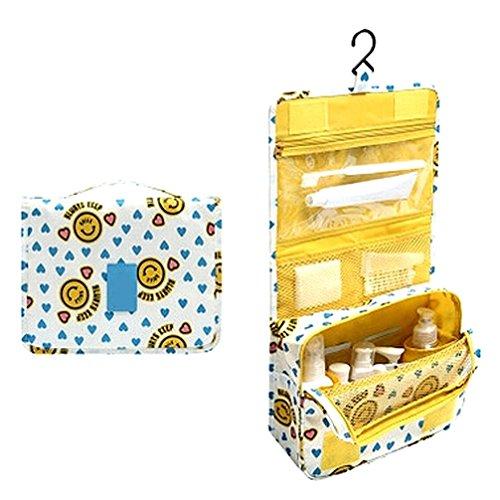 Stillshine Reisetasche Kosmetik Make Up Aufbewahrungsbeutel Organizer Falttasche Große Kapazität (gelb) Gelb Voll Kopfteil