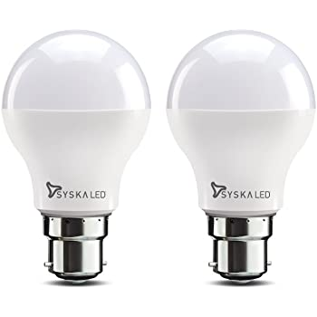 Syska Base B22 9-Watt LED Bulb (Pack of 2, Cool Day Light)